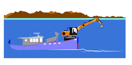 mining ship: gold mining at sea with excavator on boat