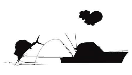カジキ釣りのシルエット
