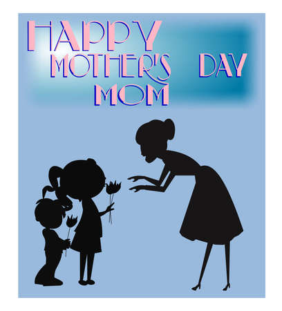 mothers day concept with silhouettes Фото со стока