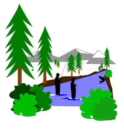 vissen in de rivier