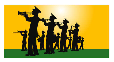 marching band on the field in silhouette Vector