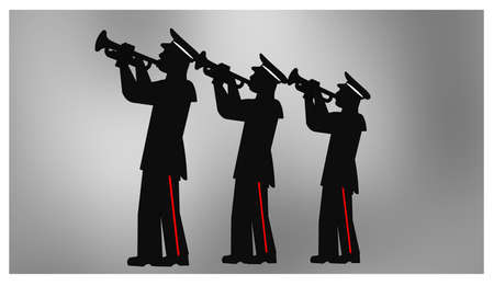 marching band in silhouette Stock Vector - 26784265