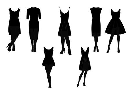 little black dress in silhouette set  Vector