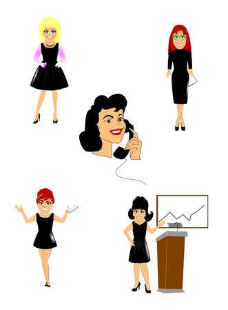 lectern: women in business set  Illustration