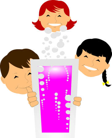 Kids with refreshing drink  Illustration