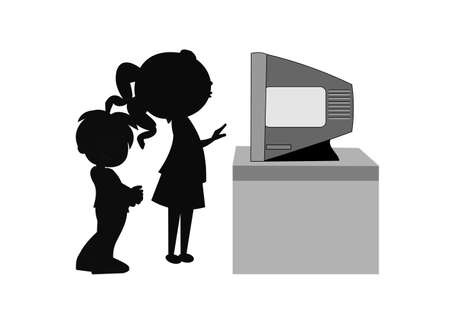 boy and girl in front of tv Vector