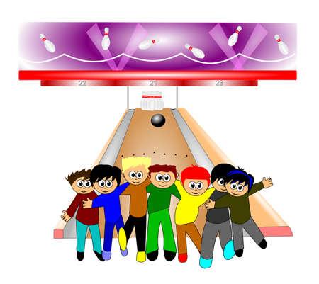 Enfants dans un bowling Banque d'images - 26777698
