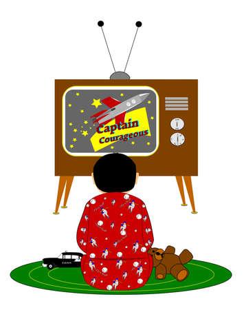 boy watching tv retro style  photo
