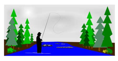 fly fisherman: early morning fly fishing  Illustration