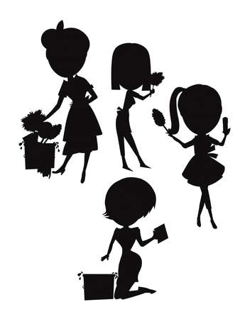 spring cleaning in silhouette Vector