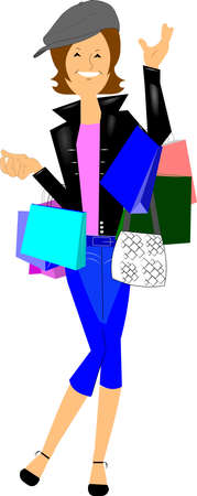 capri pants: hip chick shopping  Illustration