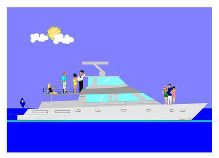 people on cruise ship  向量圖像