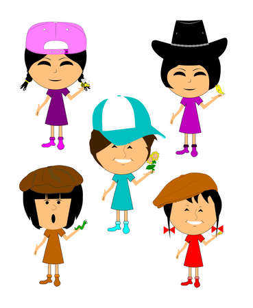 springtime: children with springtime objects  Illustration