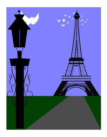 doves in flight around the eiffel tower with lamp post in foreground