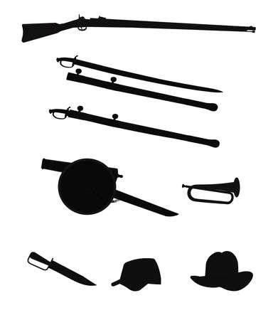 civil war objects in silhouette