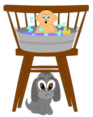 dog toy: baby s first bath time  Illustration