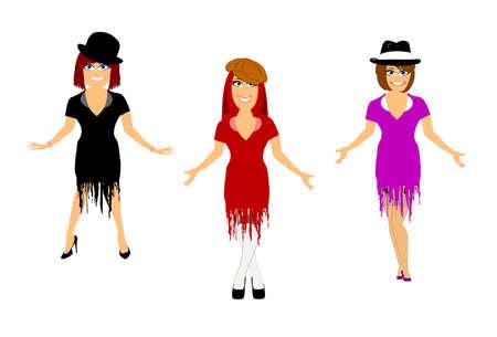 3 female dancers in costume  Illustration