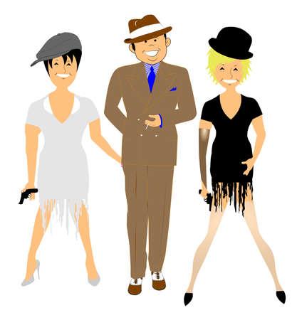 period costume: dancers in period costumes  Illustration