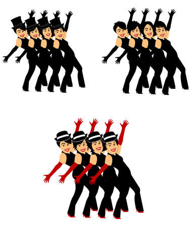chorus line dancers in 3 styles Stock Vector - 27457647