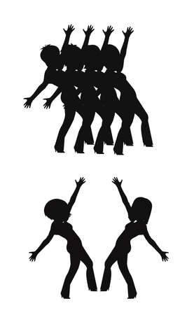 in sync: dancers in sync in silhouette