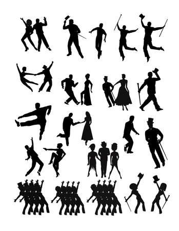 modern  dance: dancers collection  in silhouette  Illustration