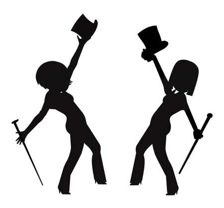 파악: 위쪽 모자와 지팡이와 실루엣 feamle 댄서