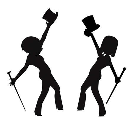 grasp: feamle dancers in silhouette with top hats and canes