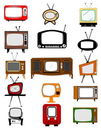 small group of objects: retro television collection
