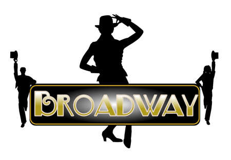 broadway background with principle female dancer