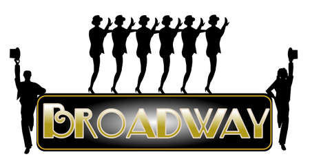 broadway background with chorus line  Фото со стока