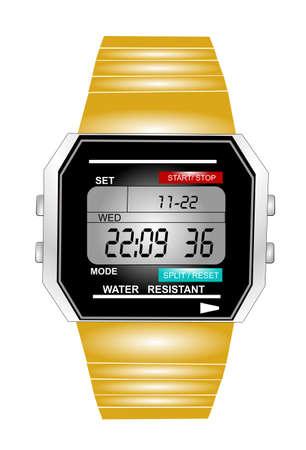 mans watch: mans retro reloj en formato de hora militar Vectores