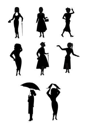 curly tail: women in rain related silhouettes  Illustration