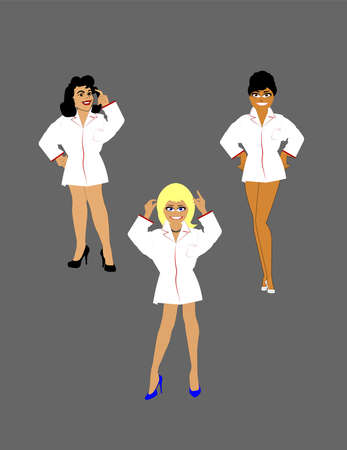 tanned ladies in white shirts  Vector