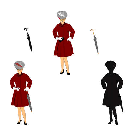 woman ready for rain showers in 3 styles Vector