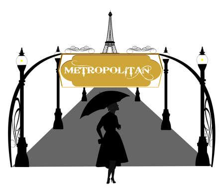 street lamp: woman in the rain in paris