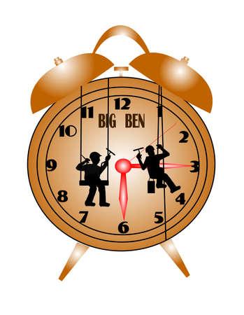 dangerous work: men washing big ben clock