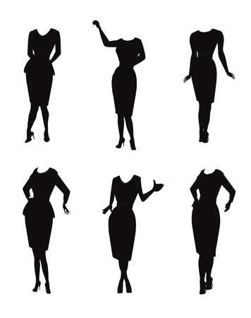 ladies with knee length hemlines  Illustration