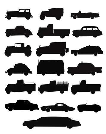 auto and truck collection in silhouette  Vector