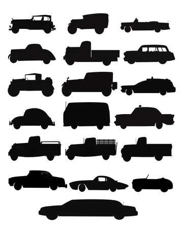 camioneta pick up: colección de automóviles y camiones en la silueta