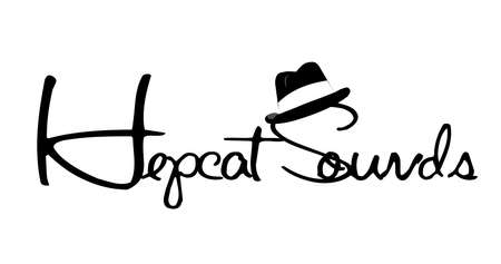 fedora hat: hepcat sounds concept over white  Illustration