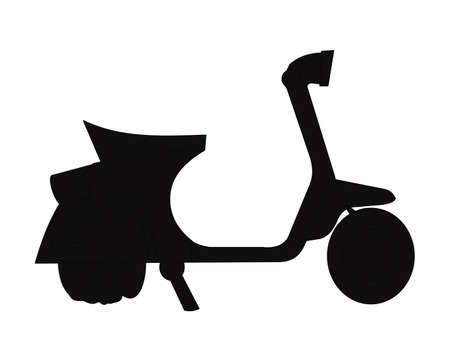 scooter in silhouette with flat back tire