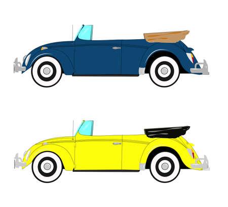 vw: German retro auto convertible in 2 styles