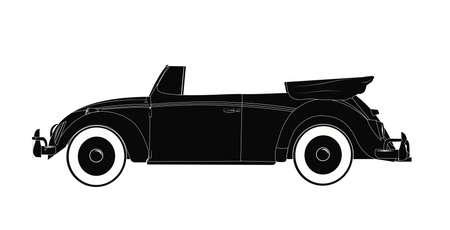 vw: retro convertible automobile Illustration