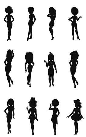 females posing set  Иллюстрация