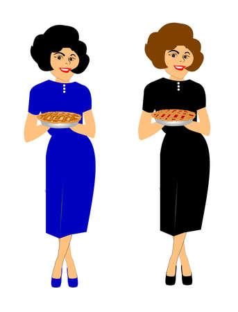 retro moms carrying pies