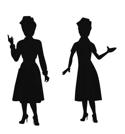 orderly: nurses in silhouette