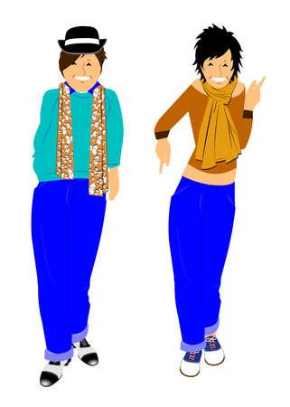sciarpe: le ragazze alla moda Vettoriali