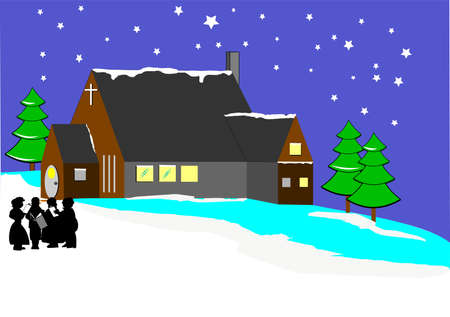 caroler: christmas scene Illustration