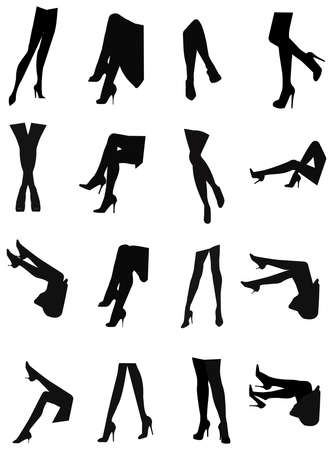 legs sexy: sexy legs silhouette set  Illustration