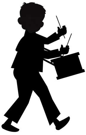 children silhouettes: little drummer boy  Illustration